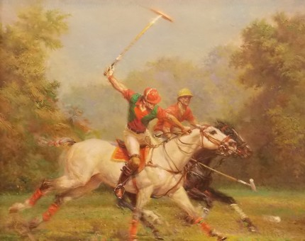 "Alfredo De la María, Uruguayan Contemporary ""Full Gallop"" Oil on canvas, 32 x 36 inches, 39 x 42 inches, Signed & Framed"