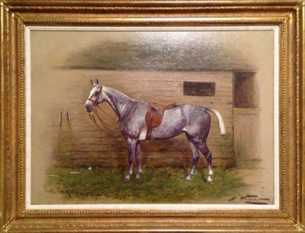 "George Wright, English (1860-1942) ""POLO - Ornament"" Oil on canvas, 16 x 21.5 inches, Framed: 22 x 27 inches, Signed lower right, Inscribed lower left, Provenance: The Estate of William T. Ylvisaker"