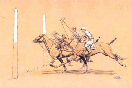 "Paul Desmond Brown, American, (1893-1958) ""Goal Kenny - 6th Period, 2nd Game"" International Polo Argentina vs USA (Copa de las Americas) in 1928, Watercolour, 11 x 17 inches, Signed, Inscribed as titled, Dated: 1928, lower right"