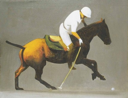 "Michael Antonio Poncé, American Contemporary ""Greenwich Polo"" 2006, Oil on canvas on panel, 11 x 14 inches, Signed top right"