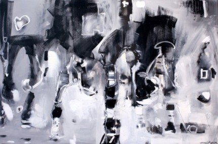"Matt Rogers, American Contemporary ""Grey Heart"" The Polo Series, Oil on canvas, 48 x 72 inches, Signed"