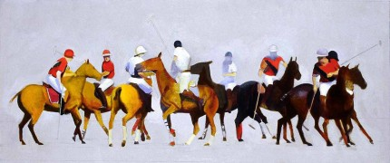 "Michael Antonio Poncé, American Contemporary ""Harvard Yale Polo"" 2005, Oil on panel, 13 x 26 inches, Signed & Dated"