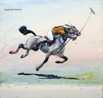 "John Board, English (1895-1965) ""Heskie & Hinemoa"" Pakistani Player and character Heskie Begg, Gouache on paper, 11.5 x11.5, Private Collector"