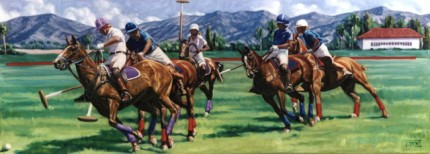 "Lonni Clarke, American Contemporary ""Horse Croquet"" 1999, Oil on panel, 15 x 40 inches, Signed and Dated"