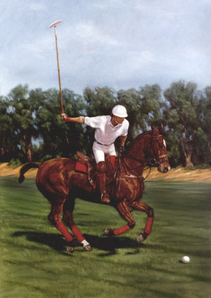 "Lonni Clarke, American Contemporary ""Polo Portrait"" 1992, Oil on linen, 30 x 22 inches, Signed. Commission for Ralph Lauren/Polo"