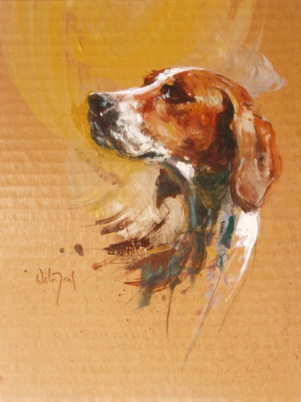 """Hound Sketch"" Oil on cardboard, Signed"