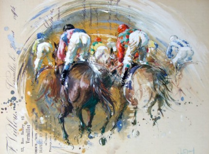 """Le Peloton"" Gouache on collage, Signed"