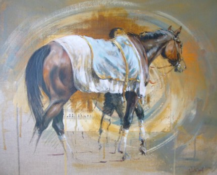 """""""Walking Ring"""" Mixed media on canvas, Signed"""