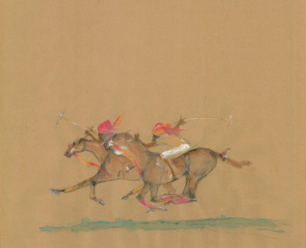 "Sandy Glynn ""Indian Polo Players"" From Horse Trainer to Horse Painter, Gouache on paper, 17 x 24 inches, Signed"