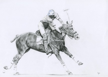 """Polo Drawing II"" Graphite on paper, 20 x 28 inches, Signed"