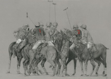 """Polo Drawing III"" Graphite on paper, 20 x 28 inches, Signed"