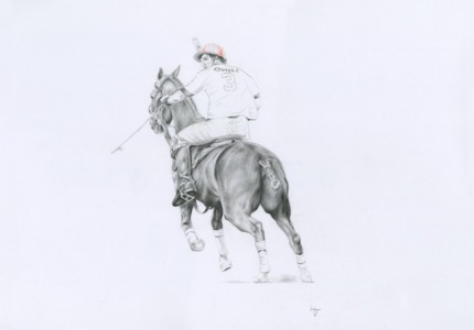 """Polo Drawing IV"" Graphite on paper, 20 x 28 inches, Signed"