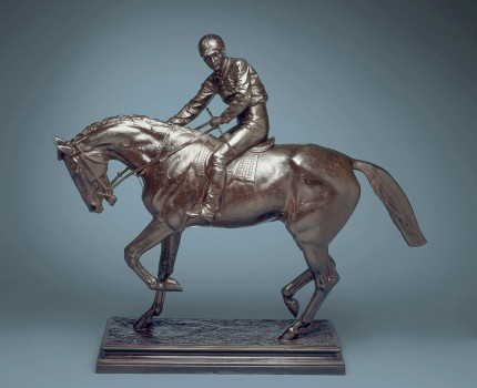 "Isidore Jules Bonheur, French (1827-1901) ""Le Grand Jockey"" Bronze with dark brown patina, 37.25 x 43 x 13 inches, Signed on base, Signed with the editeur's name and address on base: 'BOUDET 43 RUE DES CAPUCINES'"