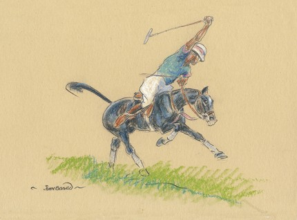 "John Board, British (1886-1975) ""Polo I"" Oil pastel on paper, 7 x 10 inches, 14 x 16 inches, Signed"