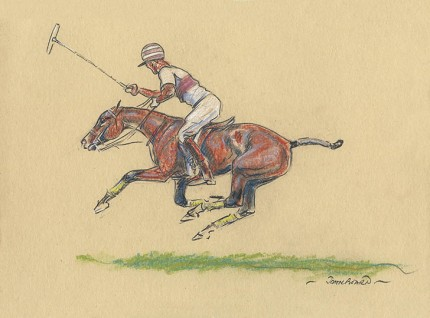 "John Board, British (1886-1975) ""Polo II"" Oil pastel on paper, 7 x 10 inches, 14 x 16 inches, Signed"