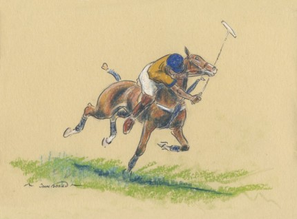 "John Board, British (1886-1975) ""Polo III"" Oil pastel on paper, 7 x 10 inches, 14 x 16 inches, Signed"