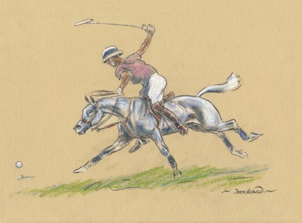 "John Board, British (1886-1975) ""Polo IV"" Oil pastel on paper, 7 x 10 inches, 14 x 16 inches, Signed"