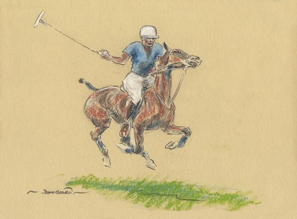 "John Board, British (1886-1975) ""Polo V"" Oil pastel on paper, 7 x 10 inches, 14 x 16 inches, Signed"