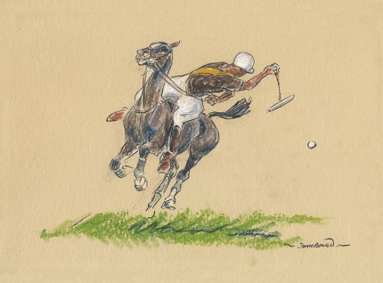 "John Board, British (1886-1975) ""Polo VI"" Oil pastel on paper, 7 x 10 inches, 14 x 16 inches, Signed"