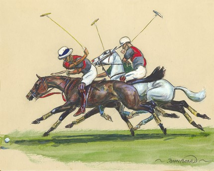 "John Board, British (1886-1975) ""Polo VII"" Gouache on paper, 7 x 10 inches, 14 x 16 inches, Signed"