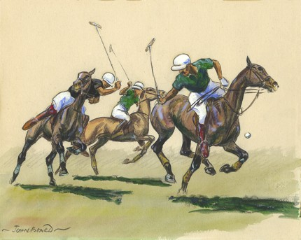 "John Board, British (1886-1975) ""Polo VIII"" Gouache on paper, 7 x 10 inches, 14 x 16 inches, Signed"