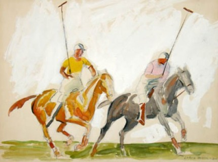 "John Lorin Black, American (1894-1963) ""Polo Players Cleveland, Ohio: 1934 - I"" Graphite and watercolour on illustration board, 13 x 17 inches, Signed in pencil and dated lower right: Lorin Black – 34"