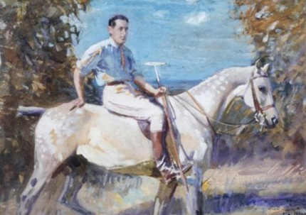 "Sir Alfred James Munnings, P.R.A., British (1878-1959) ""John Wodehouse 3rd Earl of Kimberley on a Polo Pony"""