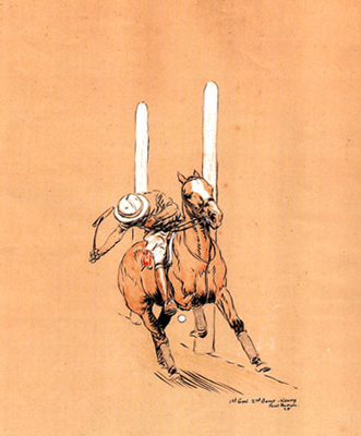 "Paul Desmond Brown, American, (1893-1958) ""Kenny - 1st Goal, 2nd Game"" International Polo Argentina vs USA (Copa de las Americas) in 1928, Watercolour, 11.5 x 8 inches, Signed, Inscribed, Dated: 1928, lower right"