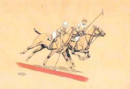 "Paul Desmond Brown, American, (1893-1958) ""Kenny Hits One - 3rd Period, 3rd Game"" International Polo Argentina vs USA (Copa de las Americas) in 1928, Watercolour, 11 x 17 inches, Signed, Inscribed as titled, Dated: 1928, lower left"