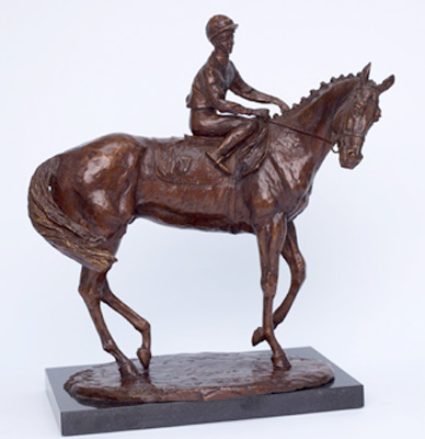 "Lorne McKean, British Contemporary ""Horse and Jockey"" T. Quinn on Snurge, Bronze, Edition: 4/10, 23 x 30 x 15 cm"