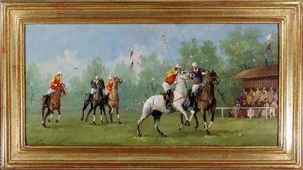 "M. Cerri, Italian Contemporary ""Edwardian Polo Scene I"" c. 1984, Oil on copper, 8 x 15.75 inches, 22k gold leaf frame with brown crackle sides, 10.5 x 18 inches, Signed lower left"