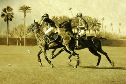 "Richard King, Zimbabwean Contemporary ""Polo Times"" Oil on canvas, 24 x 36 inches, Signed — This painting is from Empire Polo Club in Indio, CA"