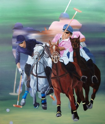 "Anne Bradford, American Contemporary ""Polo Action"" Oil on canvas, 66 x 56 inche"