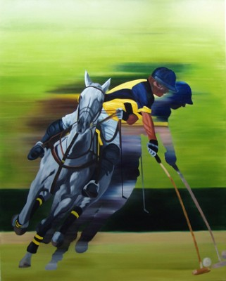"Anne Bradford, American Contemporary ""Polo Player"" Oil on canvas, 60 x 48 inches"