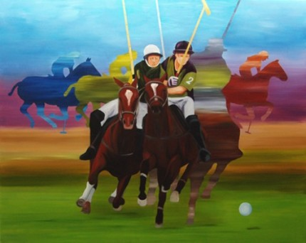 "Anne Bradford, American Contemporary ""Polo Players"" Oil on canvas, 48 x 60 inches"