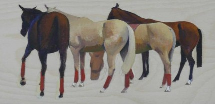 "Michael Antonio Poncé, American Contemporary ""Polo Ponies"" 2006, Oil on panel, 6 x 12 inches, Signed"