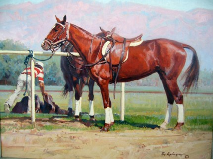 "Roy Anderson, American Contemporary ""Polo Ponies: Polo Lines"" Oil on linen, 20 x 24 inches, Signed, CAA member artist well known for his desert southwest colors: very HOT artist now, highly collectible"