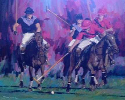"Robert Schaar, American Contemporary ""Polo"" Oil on canvas, 30 x 36 inches, 42.5 x 48 inches, Signed & Framed"