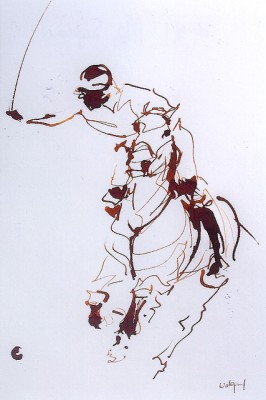 """Polo Sepia"" Ink on paper, 12.5 x 9.5 inches, Signed"