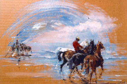"""Polo Ponies on the Beach"" Oil on card, 9.5 x 13 inches, Signed"