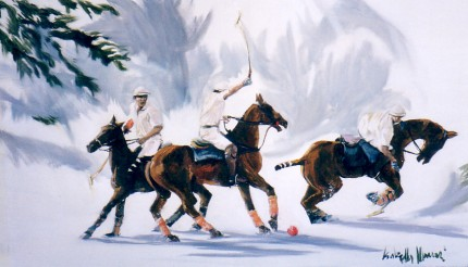 "Isabella Monari, Italian Contemporary ""Polo on the Snow"" (Polo sulla neve) Oil on canvas, 24.5 x 39.5 inches, Signed"