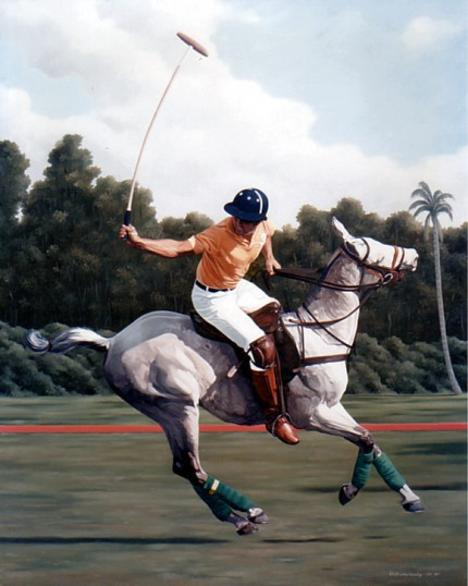 "Ricardo Morales-Hendry, Colombian Contemporary ""Polo I"" Oil on canvas, 38 x 30 inches, Signed lower right"