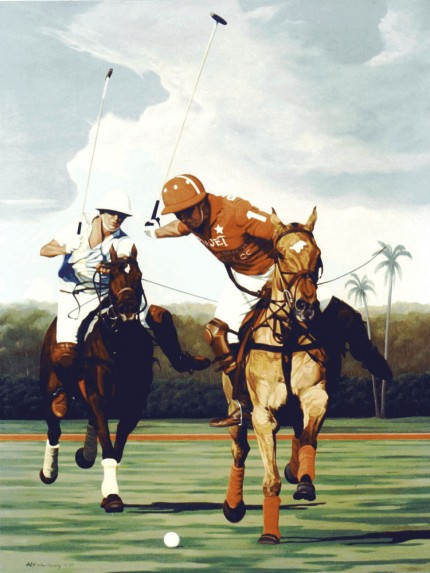 "Ricardo Morales-Hendry, Colombian Contemporary ""Polo II"" Oil on canvas, 38 x 30 inches, Signed"