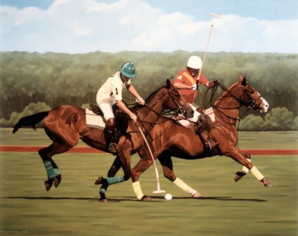 "Ricardo Morales-Hendry, Colombian Contemporary ""Polo IV"" Oil on canvas, 30 x 38 inches, Signed"
