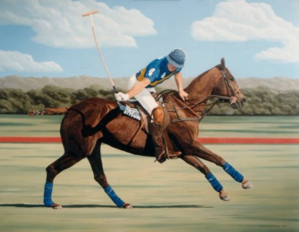 "Ricardo Morales-Hendry, Colombian Contemporary ""Polo V"" Oil on canvas, 30 x 38 inches, Signed"