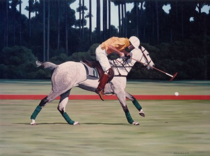 "Ricardo Morales-Hendry, Colombian Contemporary ""Polo VII"" Oil on canvas, 30 x 38 inches, Signed"
