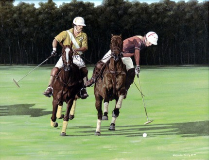 "Ricardo Morales-Hendry, Colombian Contemporary ""Polo VIII"" Oil on canvas, 30 x 38 inches, Signed"