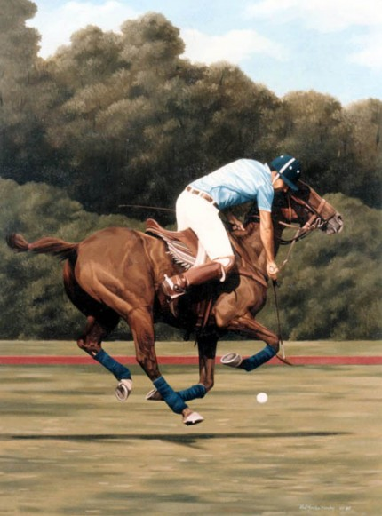 "Ricardo Morales-Hendry, Colombian Contemporary ""Polo IX"" Oil on canvas, 38 x 30 inches, Signed"