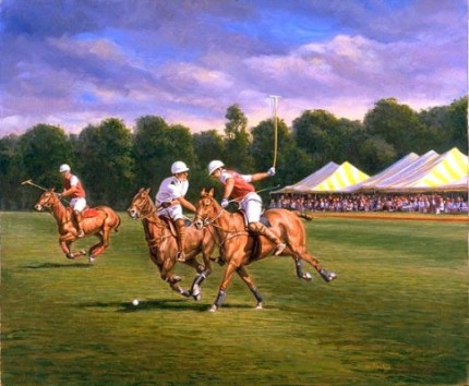 "Werner Rentsch, American Contemporary ""Saratoga Polo"" Oil on canvas, 18 x 24 inches, Signed"