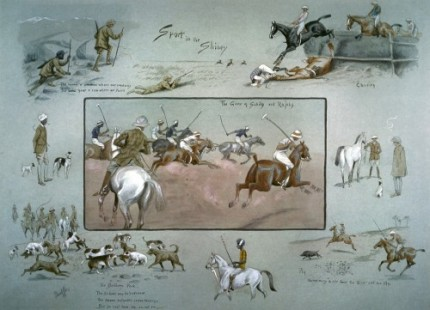 "Snaffles, British, (1884-1967) ""Sport In The Shiney by Snaffles, The Game of Sahibs and Rajas"" Original watercolour on hand coloured print depicting various polo scenes, pig sticking and hunting scenes in India, c. 1911, 19 x 25 inches, Condition: Excellent, Frame: 2"" distressed gold, with decorative cream mount, Overall Size: 30 x 36 inches, ULTRA SCARCE"